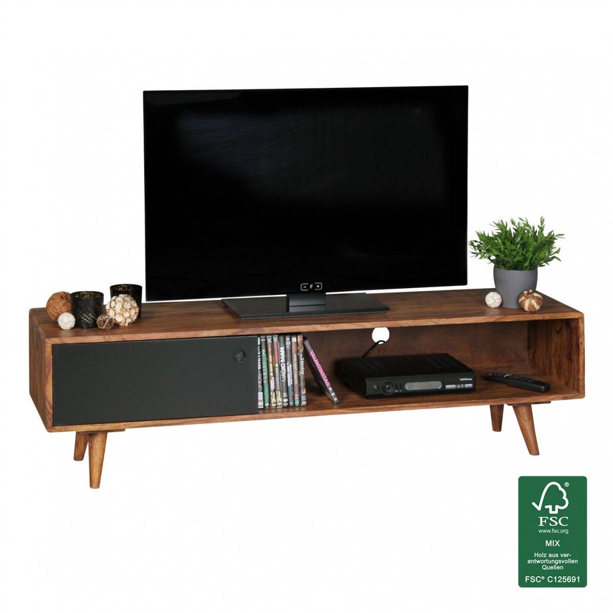 FineBuy TV Lowboard Sheesham Massivholz mit 1 Tür 140 x 40 x 35 cm ...
