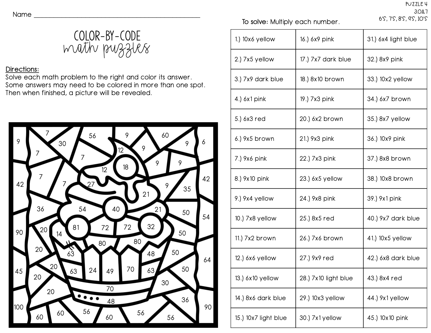 Multiplication Facts Color By Number Color By Code Multiplication Facts Multiplication Fun Math Activities [ 1275 x 1647 Pixel ]