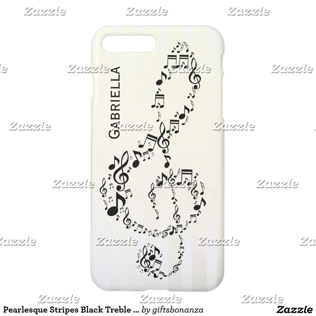 Pearlesque Stripes Black Treble Clef Music Notes iPhone 7 Plus Case