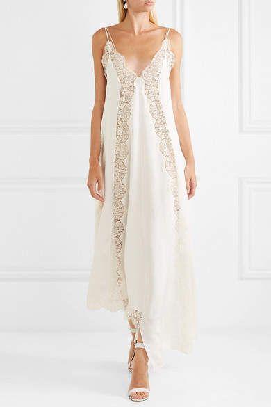 f6769672a Stella McCartney Asymmetric Lace-trimmed Silk Crepe De Chine Dress - Ivory   Lace trimmed Asymmetric