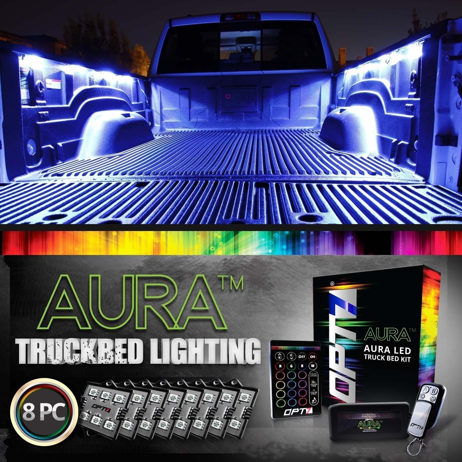 Opt7 8Pc Led Truck Bed Rail Lighting Kit Multicolor White