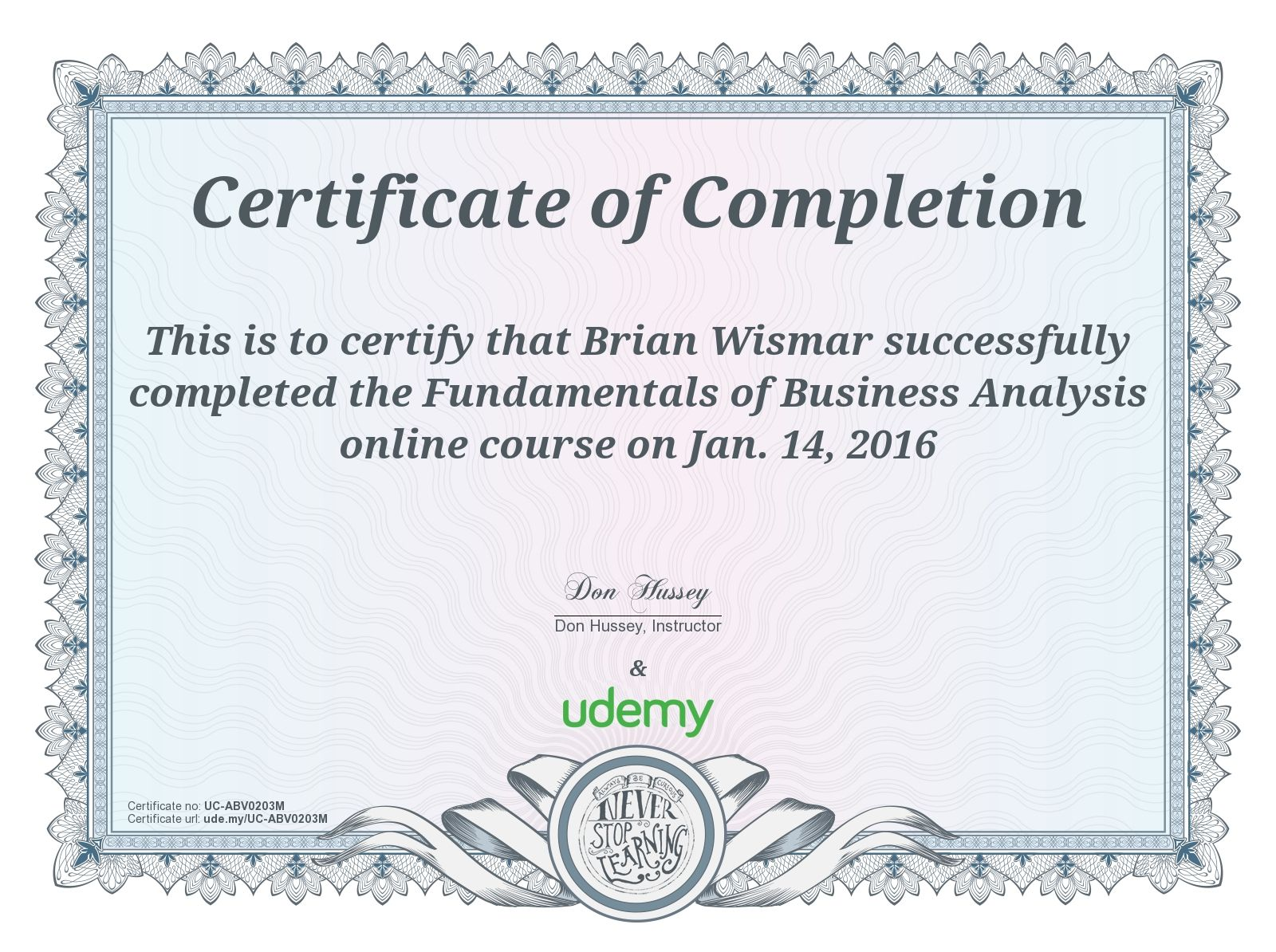 Completion Certificate For Fundamentals Of Business Analysis