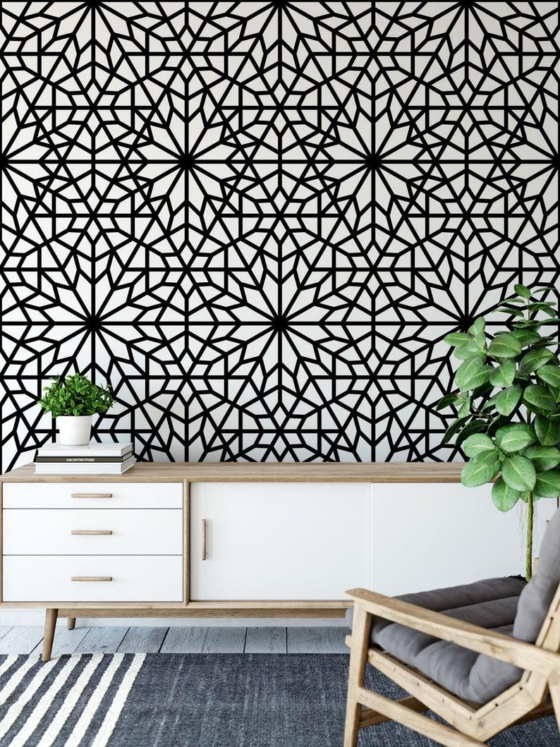 Geometric Wallpaper. Removable Wallpaper. Modern Wallpaper