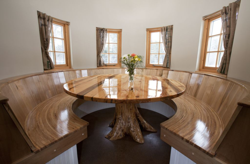 Booth style dining room in silo Matt Pinterest Barn, Acre and