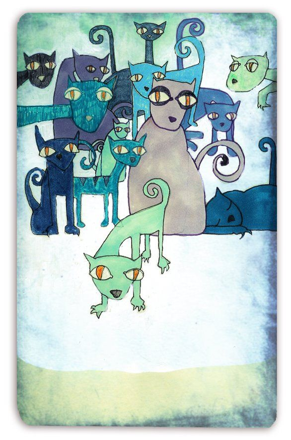 Javier Termanón cats green blue aqua teal turquoise