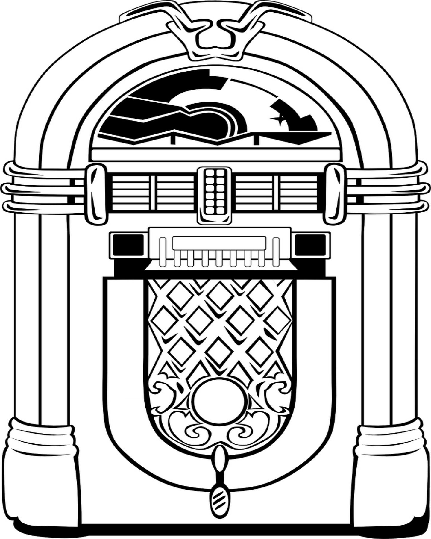Free Printable Jukebox Coloring Page