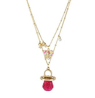 Product: Betsey Johnson® Fuchsia & Goldtone Candy Ring Two Row Necklace