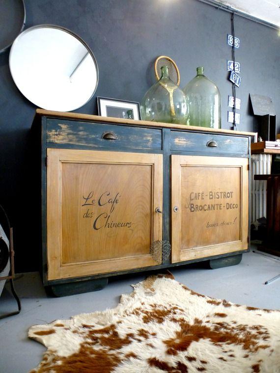 Beau Buffet En Bois Style Bistrot Relooking Meuble Mobilier De Salon Refaire Les Meubles