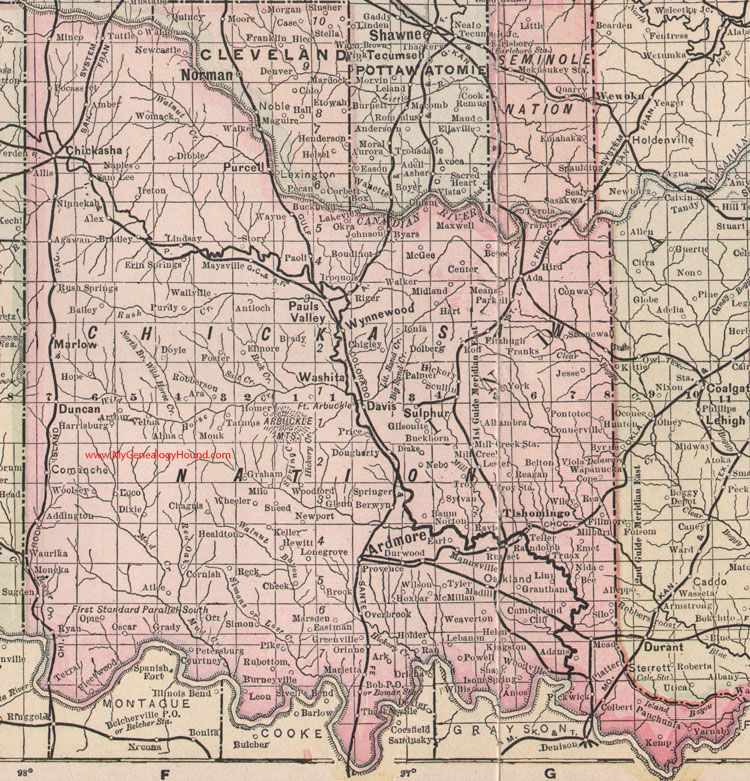 My Genealogy Hound Chickasaw Nation Indian Territory 1905 Map