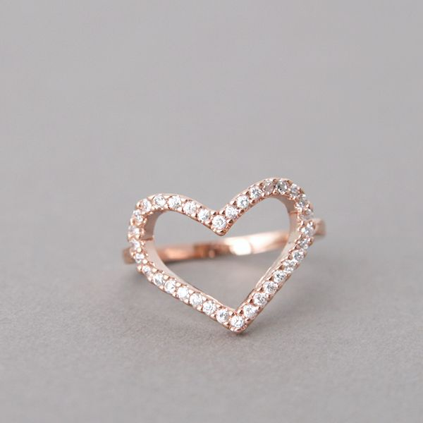 ROSE GOLD HEART RING CZ HEART RING ENGAGEMENT HEAT SHAPED RING by
