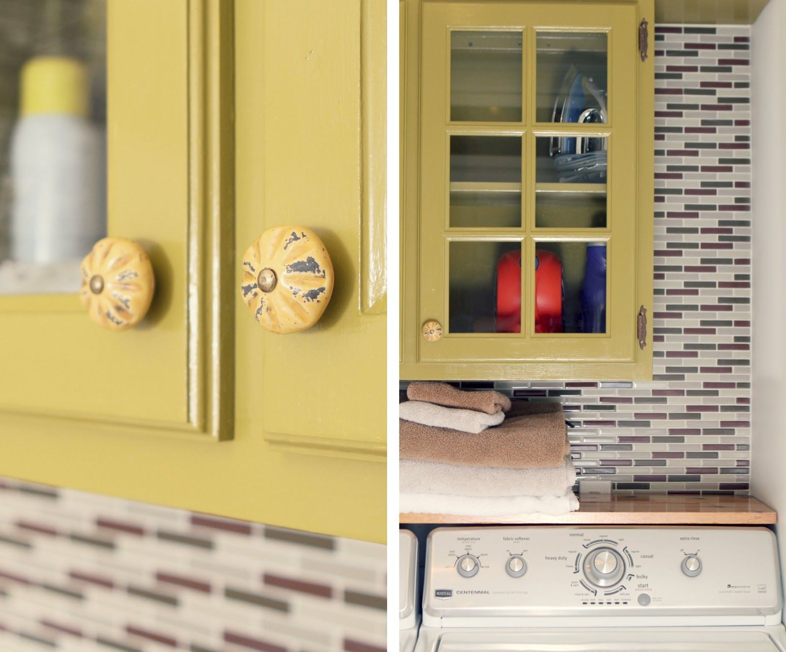 The Little Red Chair: Laundry Room Reveal - Refinished Cabinet ...