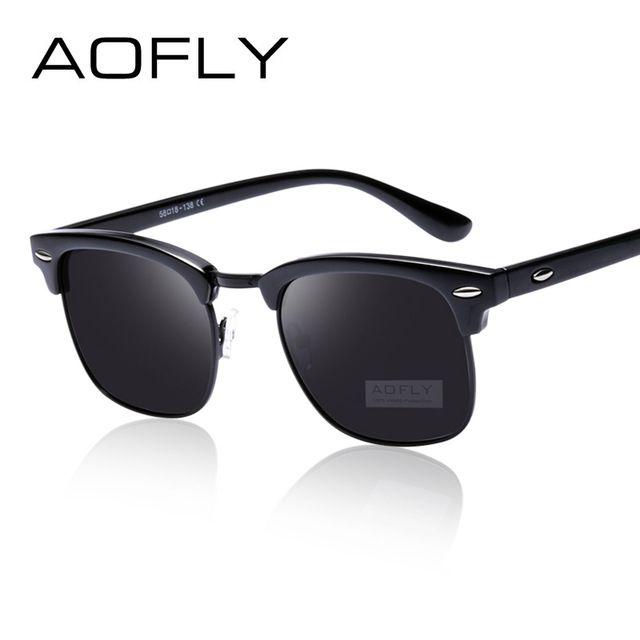 Deals For  7.99, Buy AOFLY Classic Half Metal Polarized Sunglasses Men Women  Brand Designer Glasses 3d35907163