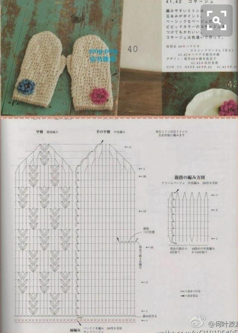 코바늘로 뜨는 벙어리 장갑 도안입니다~^^출처 - 핀터레스트 | 뜨개질 ...