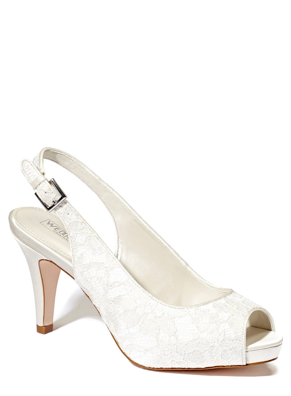 Ivory Wedding Collection Lace Platform Slingback Shoes