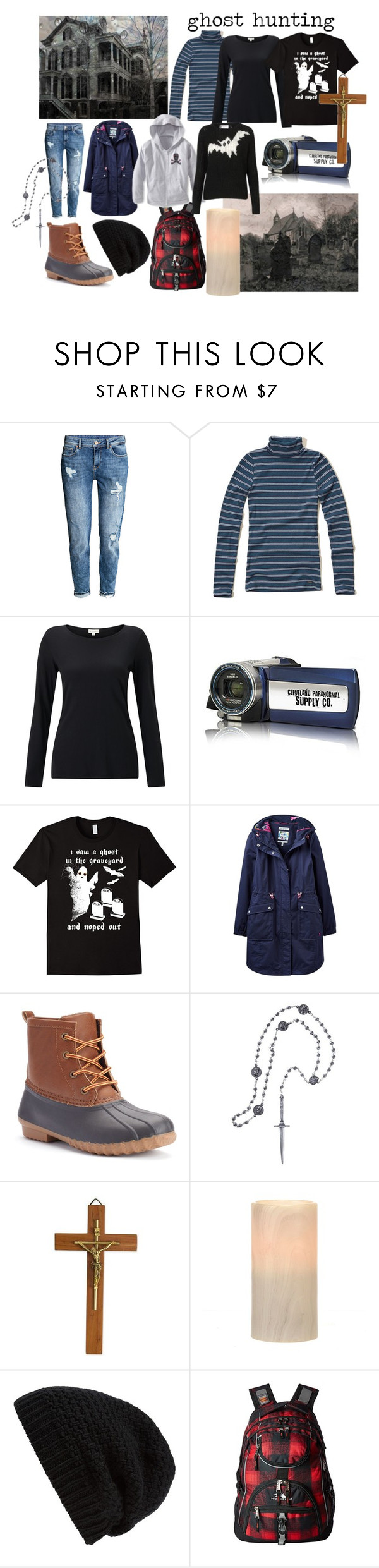 """Ghost Hunting Capsule Wardrobe"" by wheredidyougetthat ❤ liked on Polyvore featuring H&M, Hollister Co., Jigsaw, Joules, UNIONBAY, Pamela Love, NOVICA, Rick Owens, High Sierra and haunted"