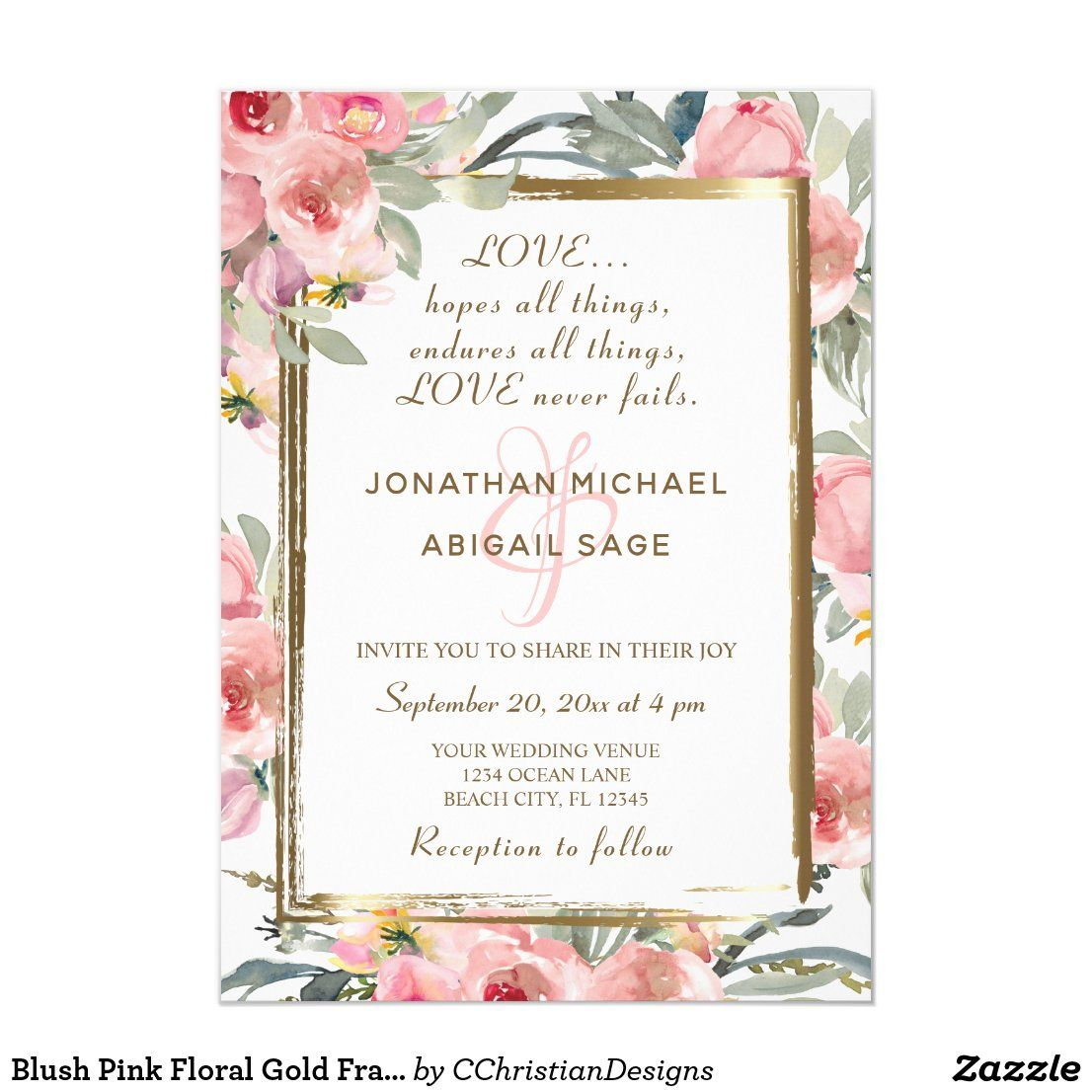 Blush Pink Floral Gold Frame Bible Verse Wedding