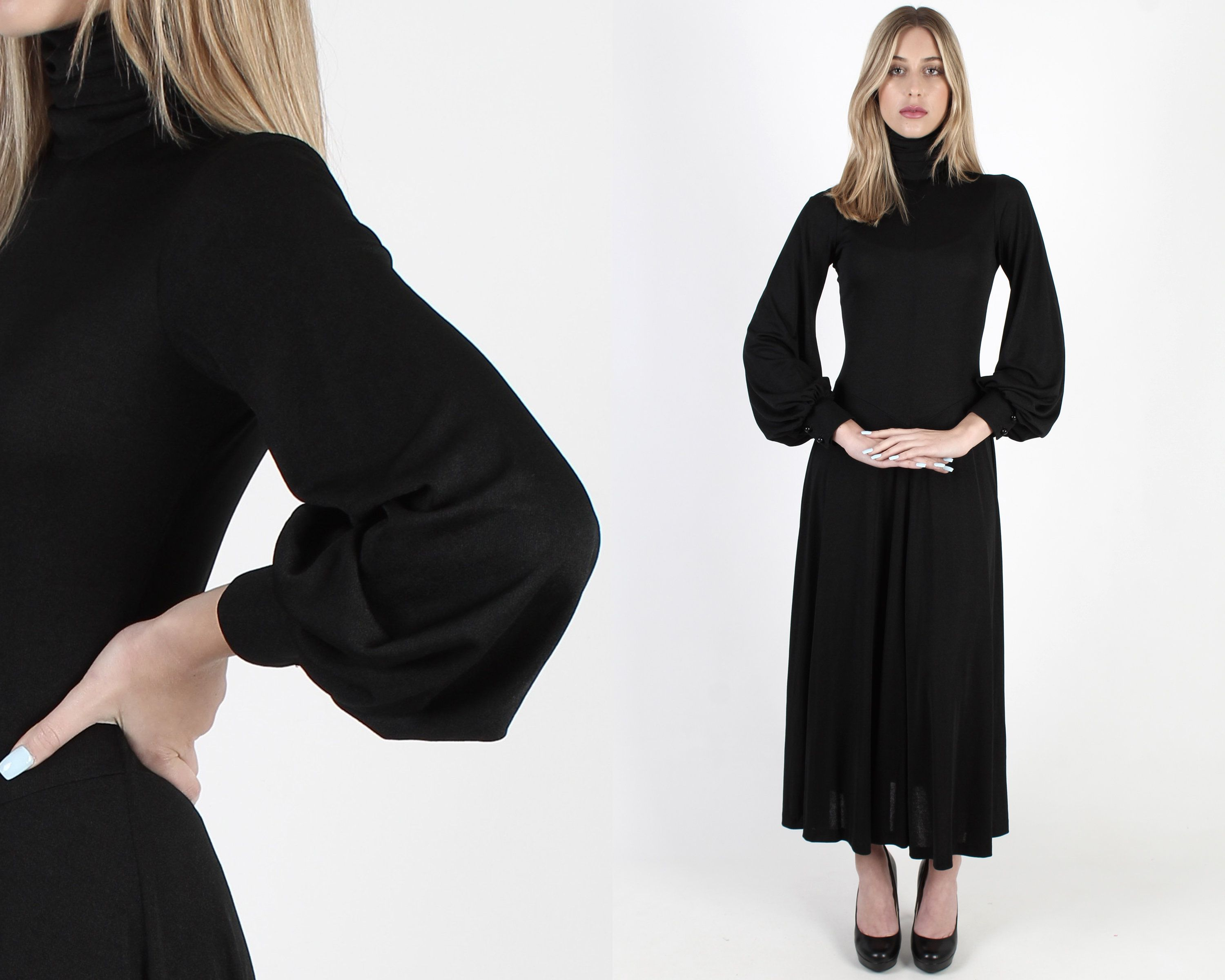 All Black High Neck Puff Sleeve Maxi Dress Vintage 70s Jersey Stretch Disco Dress Gothic Style Simple Goth Red Carpet Minimalist Long Dress Vintage Maxi Dress Maxi Dress With Sleeves Disco [ 2400 x 3000 Pixel ]
