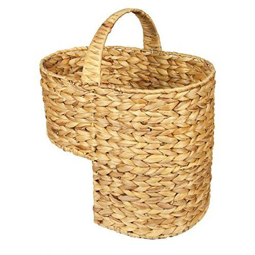 Woodluv Water Hyacinth Stair Step Storage Basket With Handle, Large
