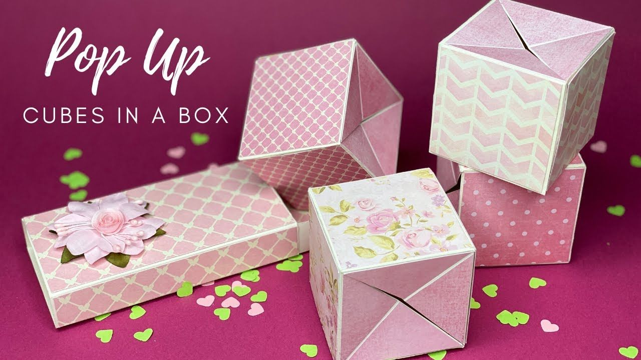 Pop Up Photo Cubes In A Box Jumping Cube Tutorial Youtube Box Cards Tutorial Pop Cubes Photo Box Diy