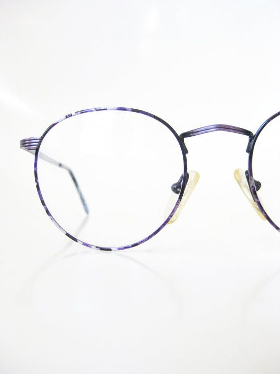 628a4190724 Round Purple Eyeglasses 1980s Wire Rim Vintage Glasses Optical Frames  Womens…