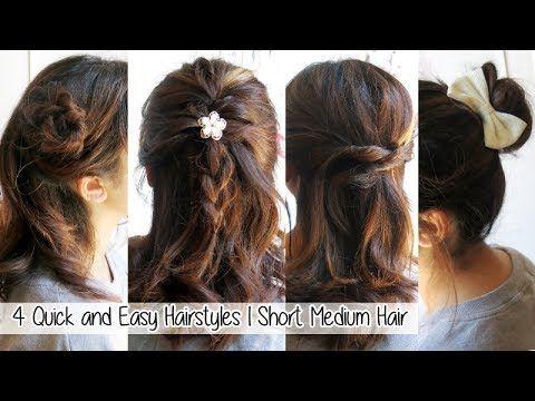 4 Quick Easy Hairstyles For Short Medium Hair L Cute Hairstyles