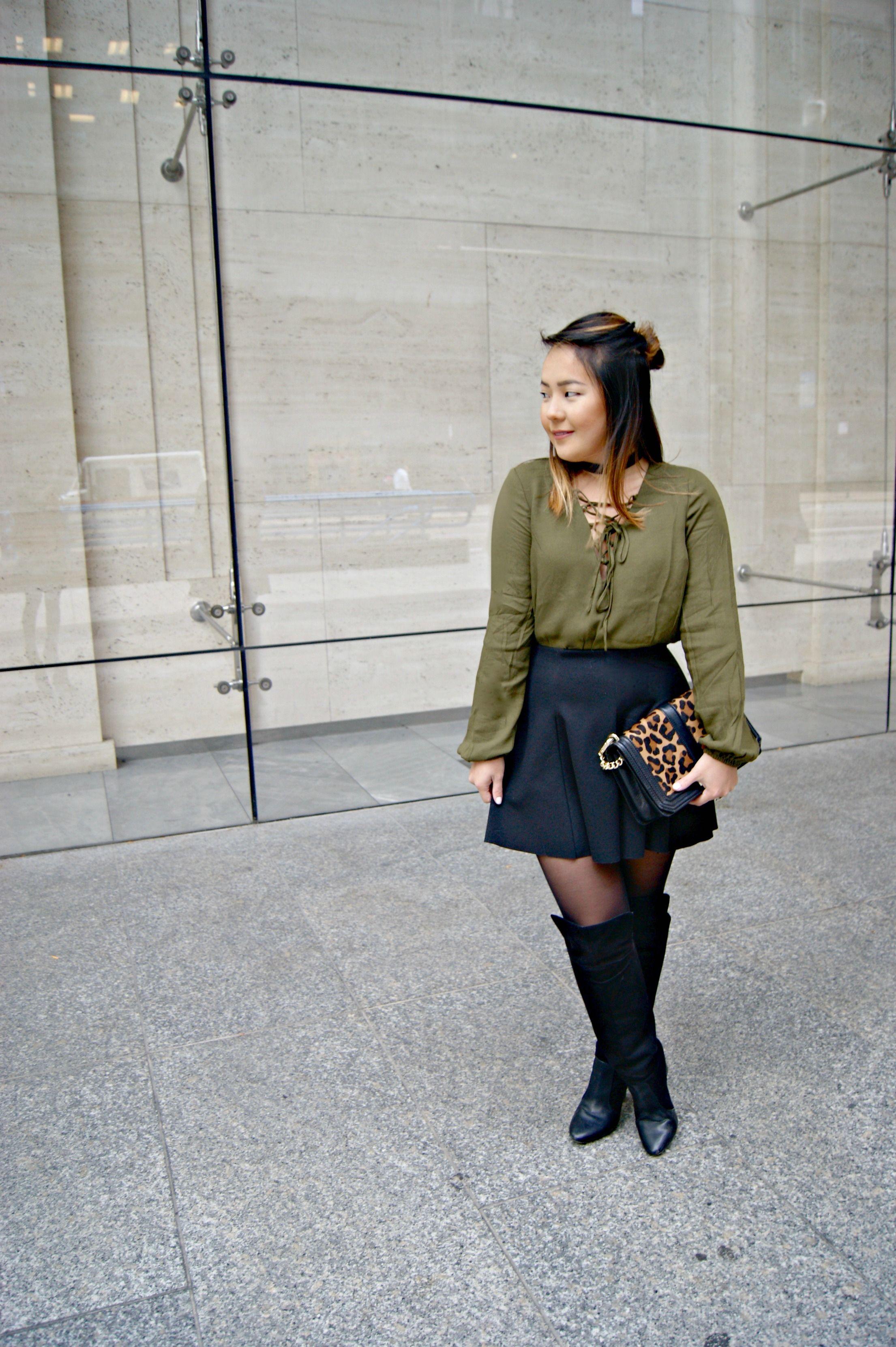 e5945506e3 Olive lace up top, black choker, black skirt, black over the knee boots,  leopard bag.