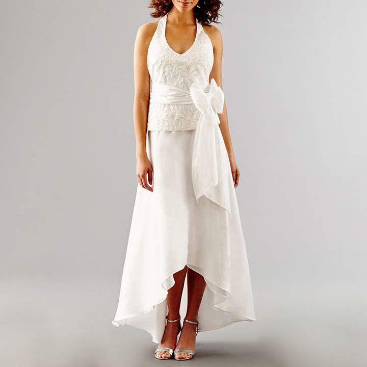 BLU SAGE Blu Sage Sleeveless Embroidered Halter Wedding