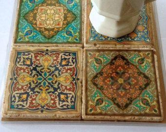 Travertine Tile Coaster Set Moroccan Motif