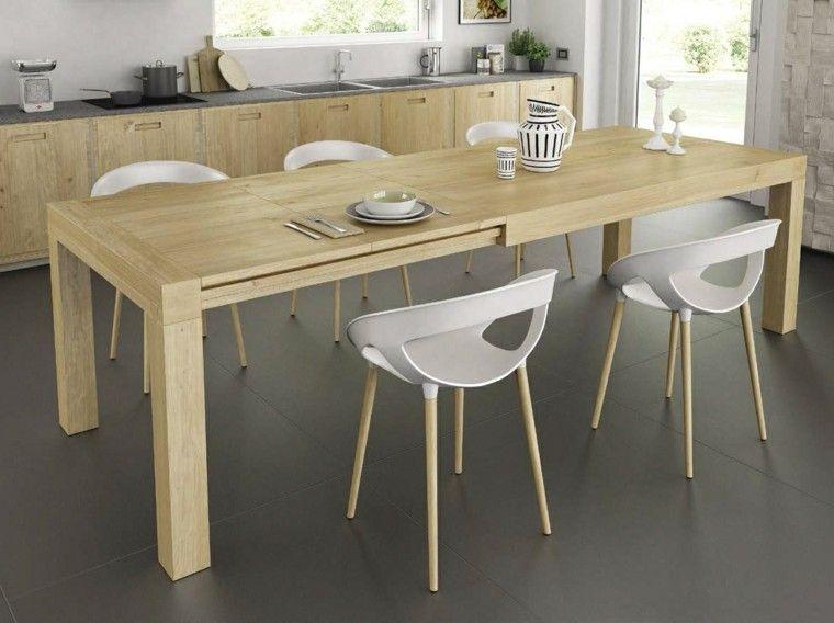 mesa grande y sillas blancas para el comedor moderno   decoracion ...