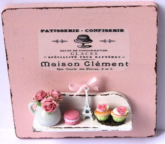 Shabby chic pink romantic vintage paris por - Cuadros shabby chic ...