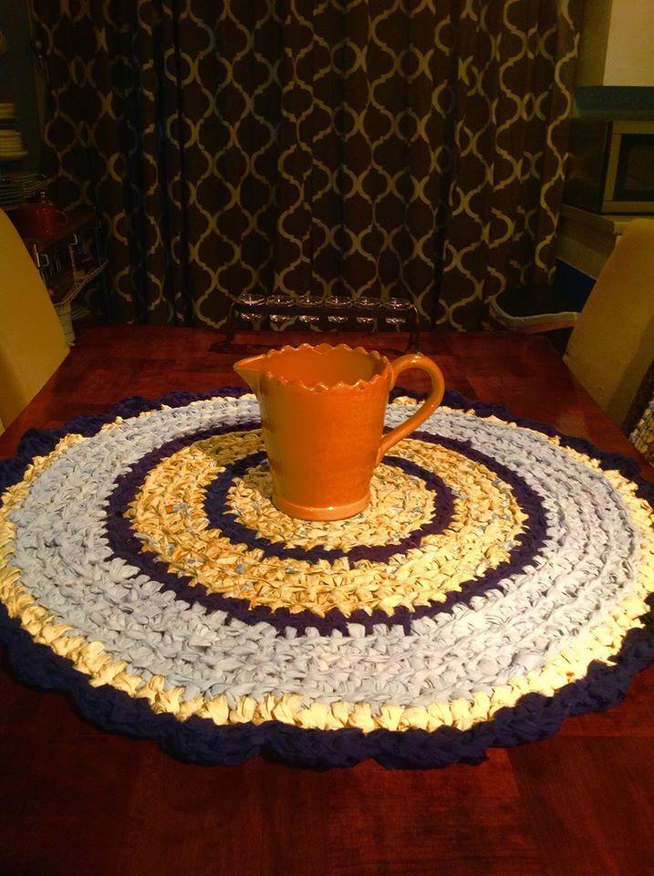 #hookedrugs #crochetragrugs #blueyellowragrug
