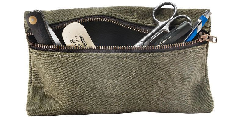 Zippered Waxed Canvas Pouch