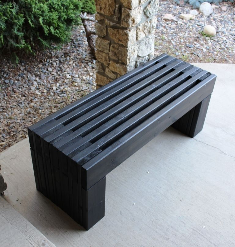 Photo of Modern Slat Top Outdoor Wood Bench