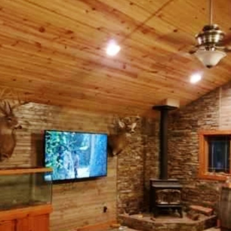 1x8 Rustic Hewn Carsiding Installed On Walls And Ceiling Contractor Used Two Different Stain Colors To Create This Unique Look In 2020