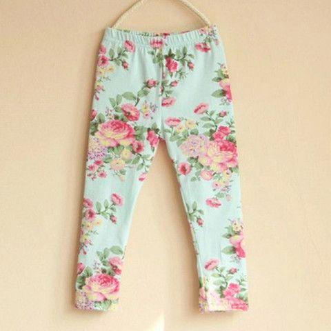 0572d339b Vintage Floral Leggings - TEAL – Handmade With Love 4 Kids 4 Kids, Baby Kids