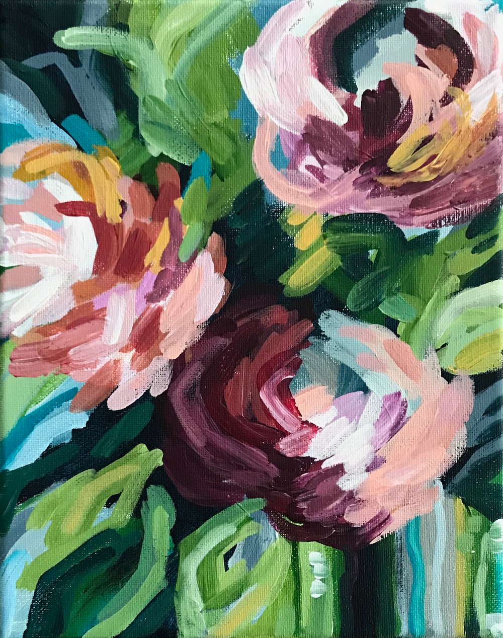 How To Paint Modern Abstract Flowers Acrylic Painting For