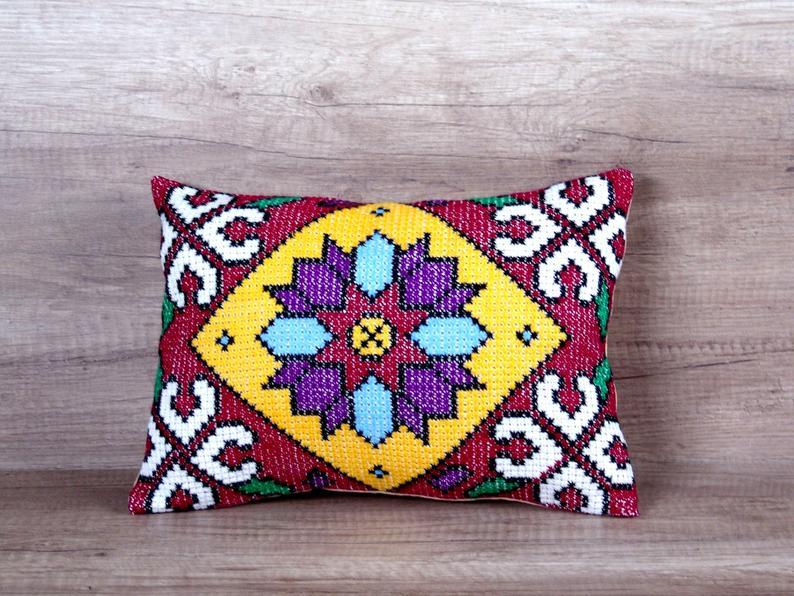 Burgundy red embroidered pillowcase, Geometric needlepoint throw pillow covers, Rectangular pillow cross stitch cushion, Modern farmhouse