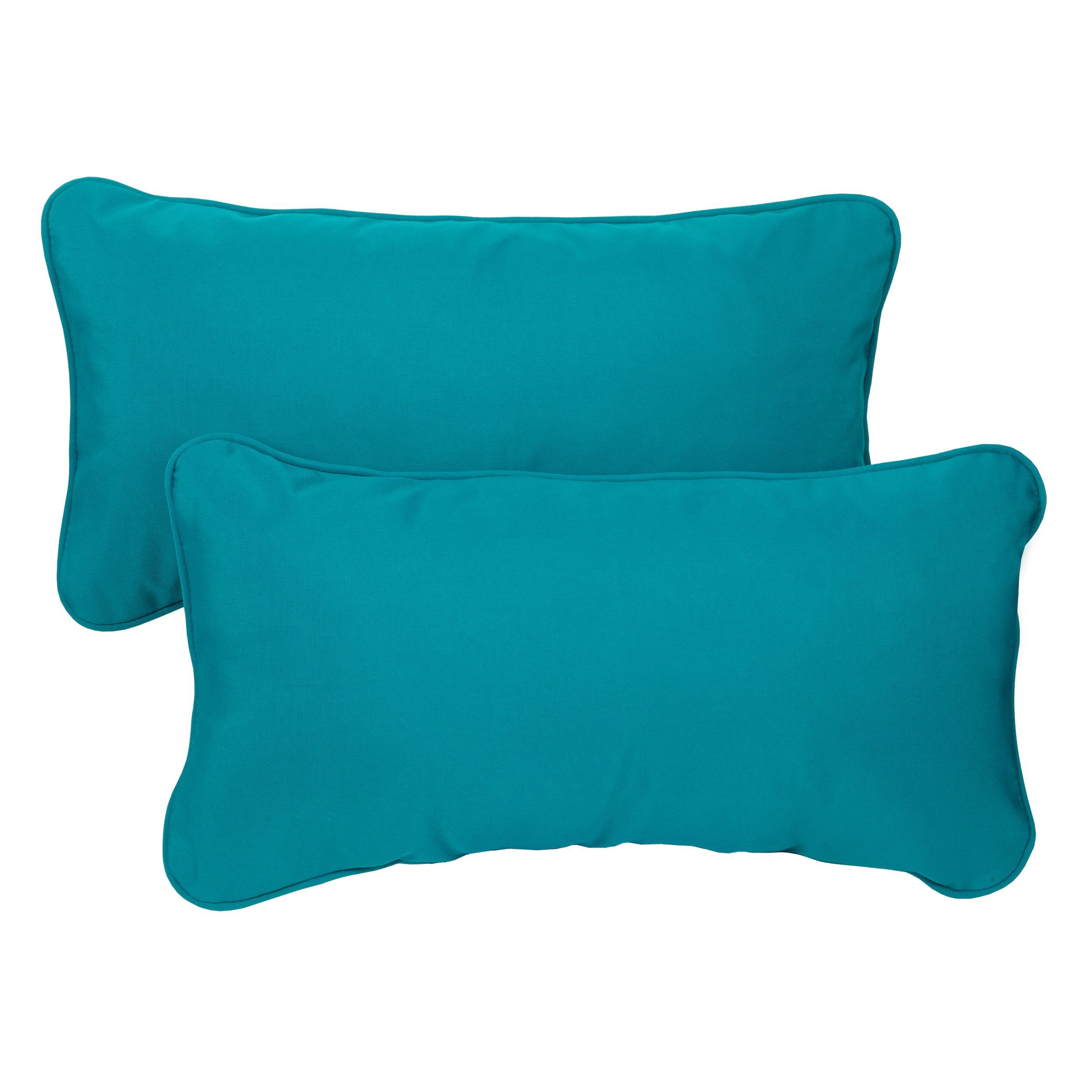 Teal Corded 12 X 24 Inch Indoor/ Outdoor Lumbar Pillows With Sunbrella  Fabric (Set