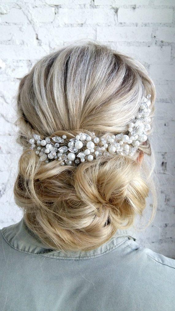 Pearl Bridal Headpiece, Pearl Bridal Hair Comb, Bridal hair piece ...