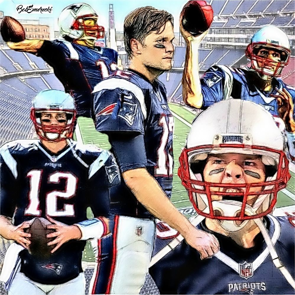 Tom Brady Qb New England Patriots Football Illustration Nfl Fans Football Helmets