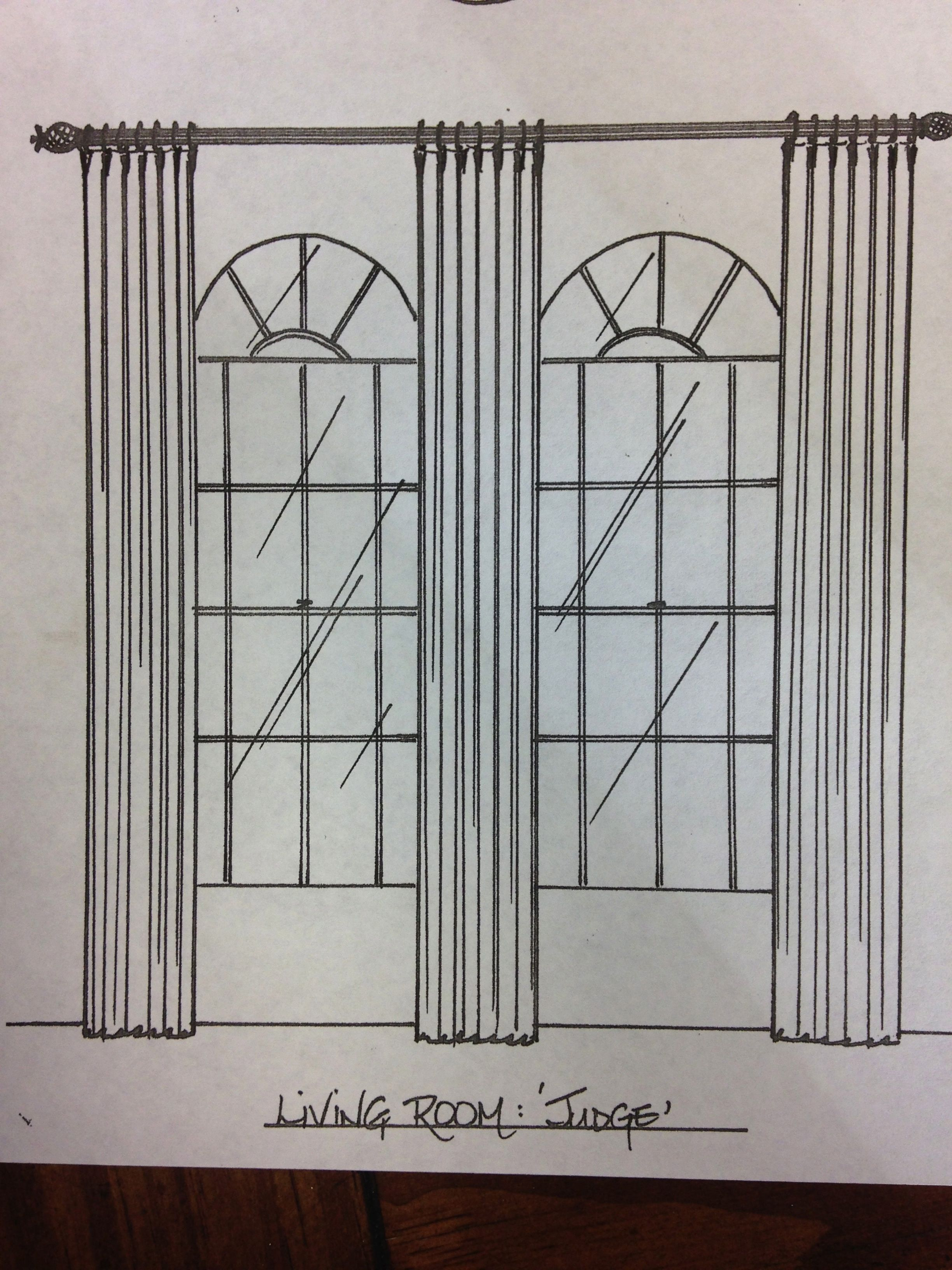 This Window Treatment Was Drawn For A Client With Arched Windows