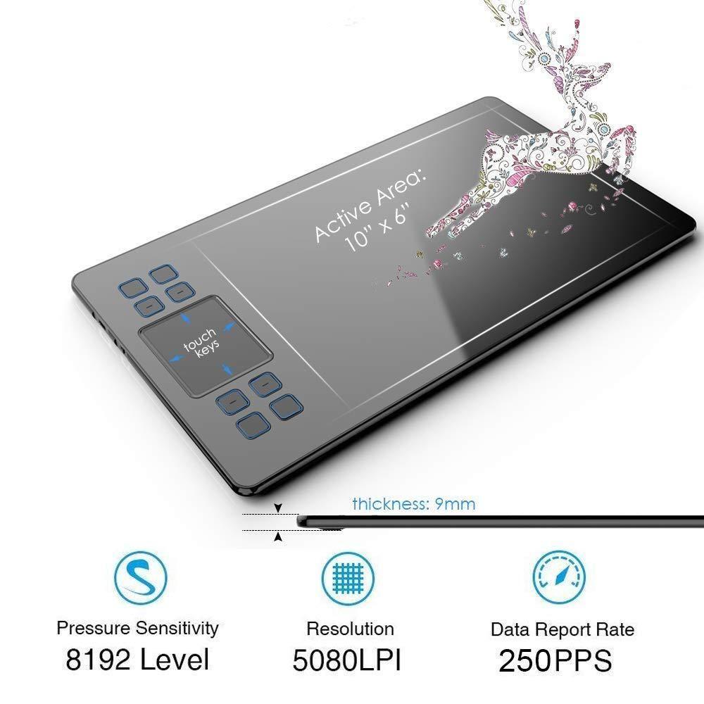 "Veikk A50  Drawing Tablet 10x6/""  8192 Levels Battery free pen"