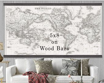 Large vintage world map world map in antique whites world map large vintage world map world map in antique whites world map grand canvas wall tapestry room stuff pinterest tapestry gumiabroncs Images