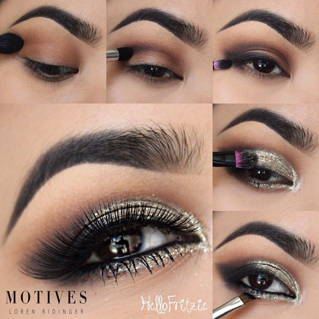Get this gorgeous look by @hellofritzie using the following steps -apply motives eye base all over lid 1. apply 'cappuccino' above the crease as a transition shade 2. apply 'chocolight' on the crease area to define 3.use 'onyx' on outer V and outer lower lash line and blend 4. take 'bling' and pat it on lid and sweep on inner tear duct with a damp brush 5.line waterline with for lala black kohl liner