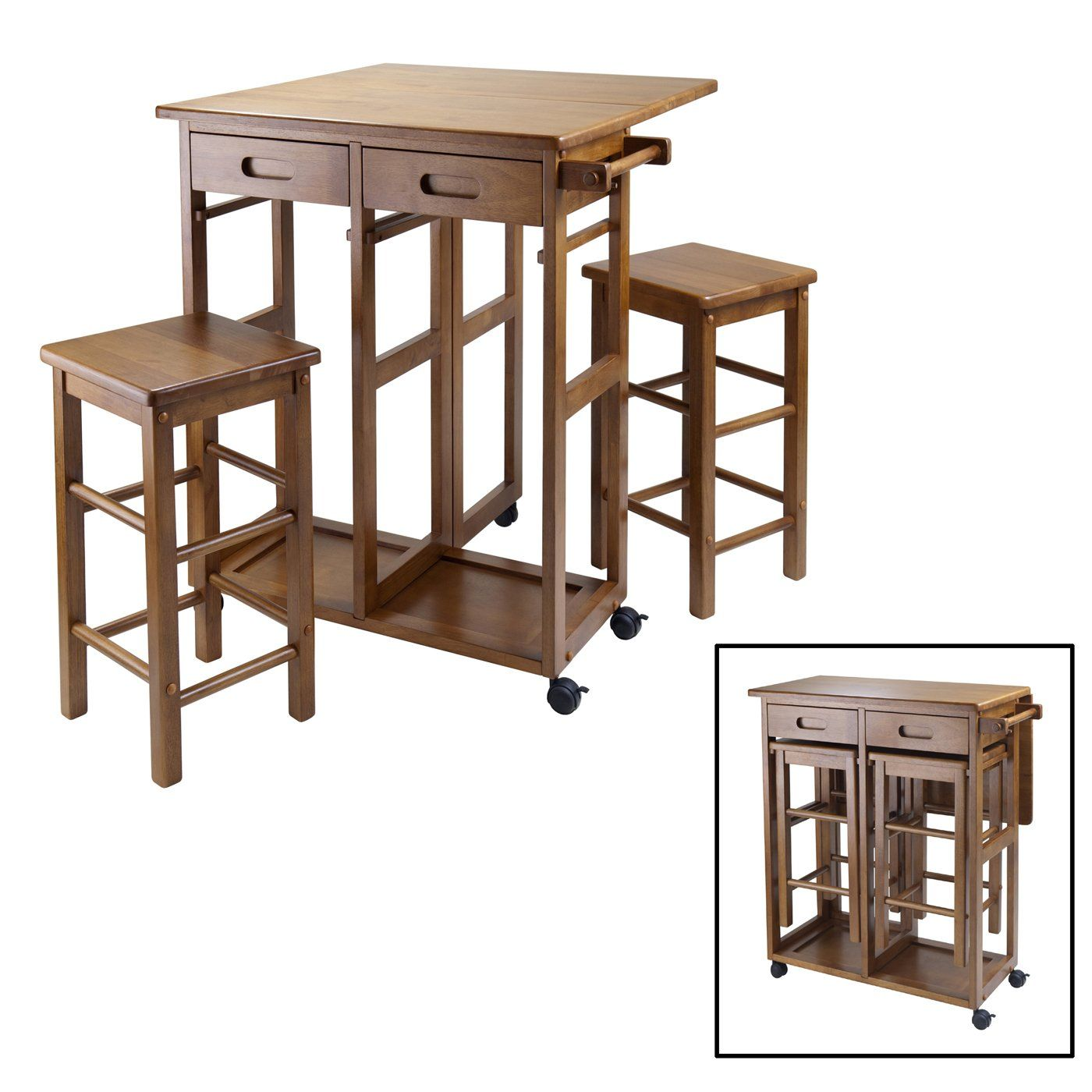 Winsome Wood 39330 Space Saver Kitchen Cart, Teak, love the hidden stools for a small kitchen