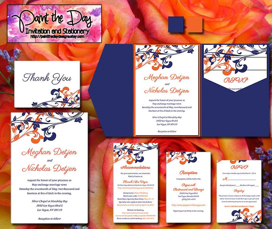 Whimsical Vines Wedding Pocketfold by PaintTheDayDesigns