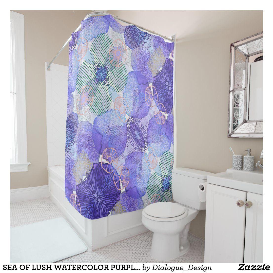 Sea Of Lush Watercolor Purple Flowers Shower Curtain Zazzle Co