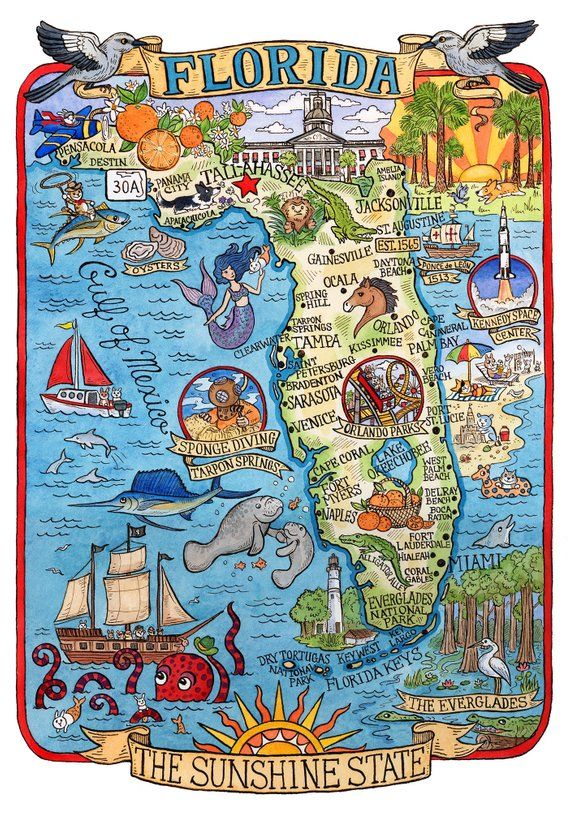 Florida State Map 8 X 10 Art Print Florida State Map Art
