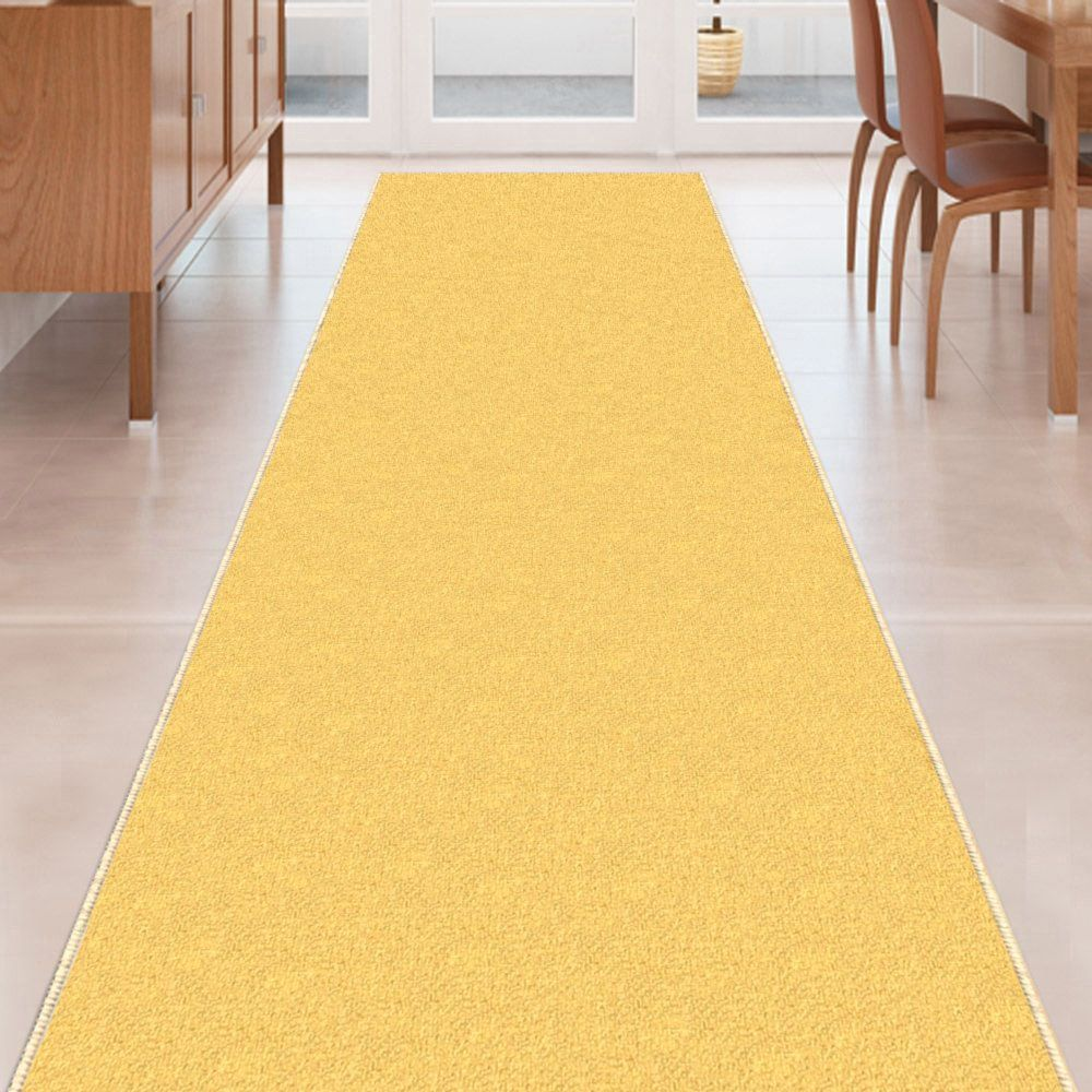 custom size yellow solid plain rubber backed nonslip hallway stair runner rug carpet 22