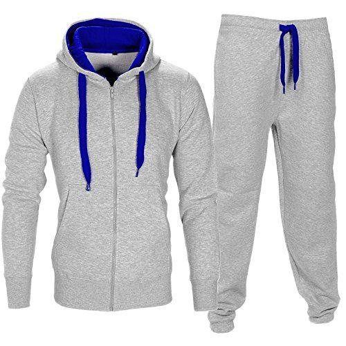 Mens Athletic Tracksuit Set Sportwear Sweat Suit Gym Contrast Jogging Full Tracksuit Hoodies Joggers Set